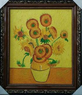 Van Gogh's 'Sunflower' framed oil painting reproduction Melbourne CBD Melbourne City Preview
