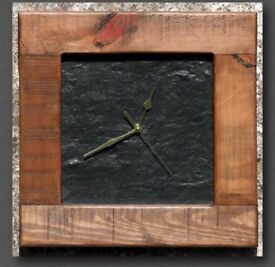 Slate Wall Clock with Wooden Frame