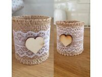 Rustic Wedding Hessian And Lace Napkin Rings/Holders With Wooden Heart Front
