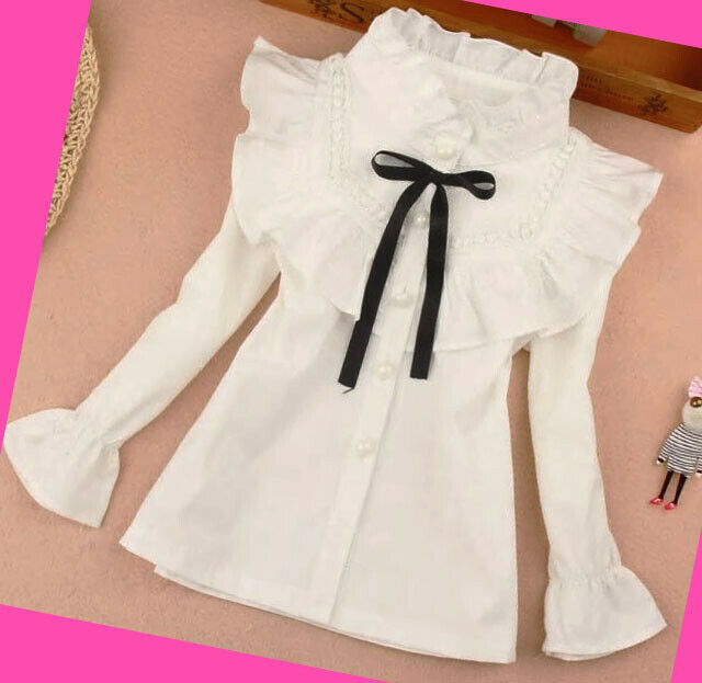 Girls Top Spring Long Sleeve Blouse Soft Lace School Casual Tops Age 2-7 years