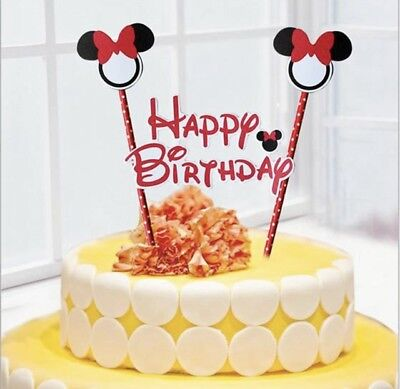 Minnie Mouse Party Themes (NEW Disney Minnie Mouse Themed Party Happy Birthday Cake Topper with)