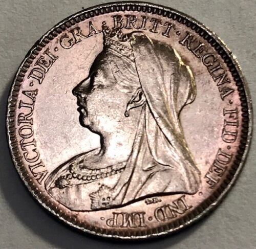 GREAT BRITAIN - Queen Victoria - Silver Sixpence - 1899 - KM-779 - Toned BU