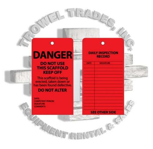 Scaff Tag Job Site Safety Danger 25 Pack Scaffold Tag