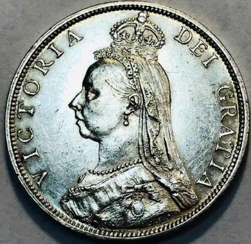 GREAT BRITAIN Queen Victoria - Silver Florin 1890 - KM-762 - About Uncirculated!