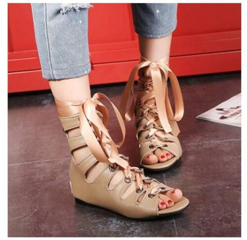 Details about Womens Gladiator Flats Casual Roman Summer Boots Lace Up Sandals Strappy Shoes