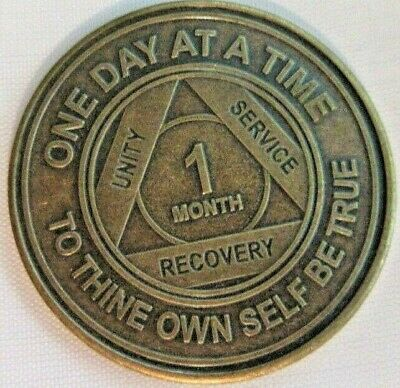 Alcoholics Anonymous AA 1 Month Bronze Medallion Token Coin Chip Sober Sobriety