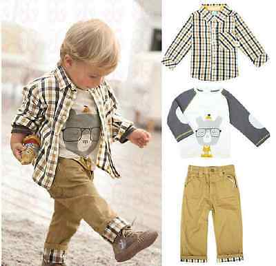 handsome boys Kid Clothing Shirts+T-Shirt+Pants 3PCS Outfit Sets Top Pants S0-5Y