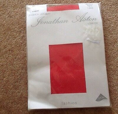 JONATHAN ASTON Tights Scarlet Red Fishnet Micronet One Size