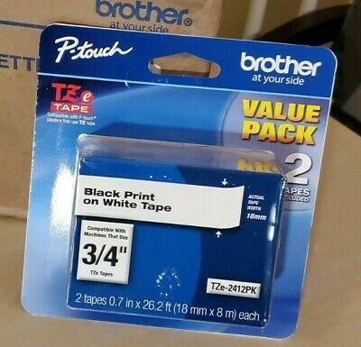 Brother Genuine Tze2412pk 2 Pack Of Label Tape Black Font On White Label 34