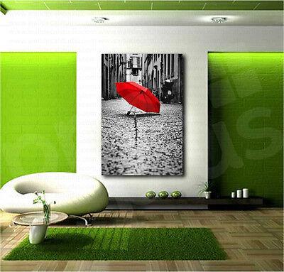 Red Umbrella Black and White Paris Street Canvas Art Poster Print Wall Decor