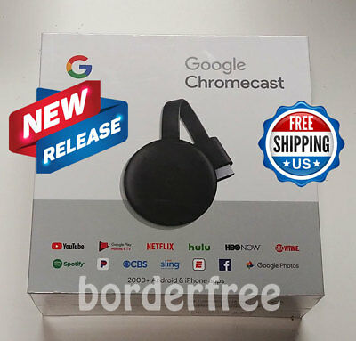 Google Chromecast Streaming Media Player (3nd Gen - 2018 Version) ✔ BRAND NEW ✔