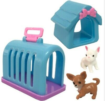 4 Items/ Set Doll Accessories Mini Doll Pets Dog+Rabbit+House+Kennel For Barbie