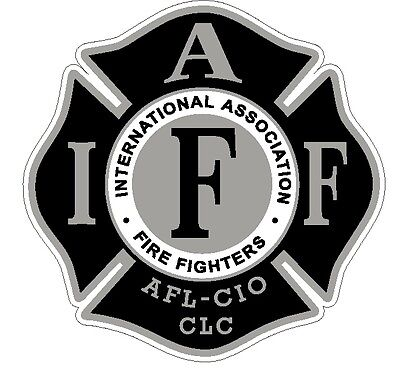 "4"" IAFF Decal Black and Silver Exterior Mount Please Read Auction"
