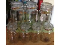 Storage Jars With Sealed Tops 9 In Total