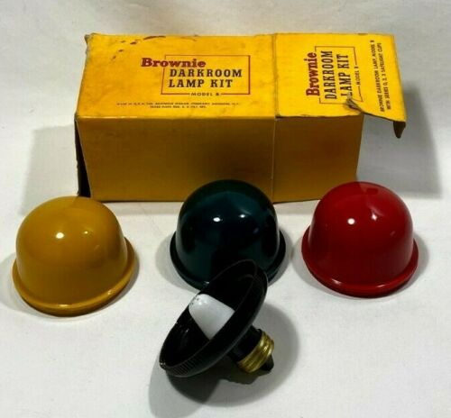 (3 CUPS) KODAK BROWNIE Darkroom Safelight Lamp Kit Model B (RED/YELLOW/GREEN)