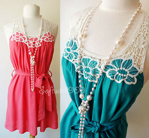 NEW-Coral-or-Teal-Crochet-Embroidered-Open-Y-Back-Summer-Beach-Tunic-Top-Dress