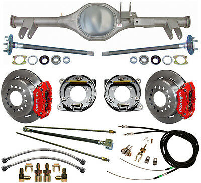 CURRIE 59-64 IMPALA REAR END & WILWOOD DISC BRAKES,RED CALIPERS,LINES,E- CABLES