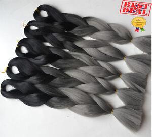 5 x Black & Dark Grey Ombre Two Tone Dip Dye Kanekalon Braiding Hair Extensions