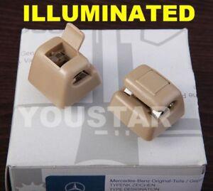 US STOCK X2 Cream Beige Sun Visor Clips Mercedes W463 W123 W124 W126 W201 190E