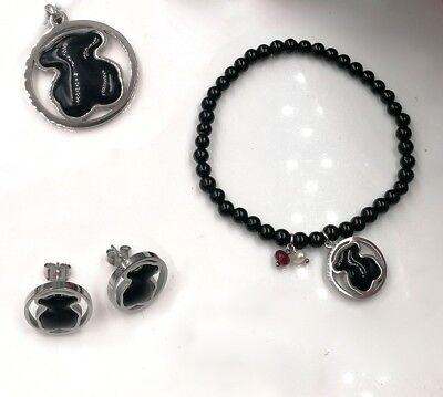 - Stainless steel Titanium Black agate Pendant Bear Necklace Bracelet Earrings Set