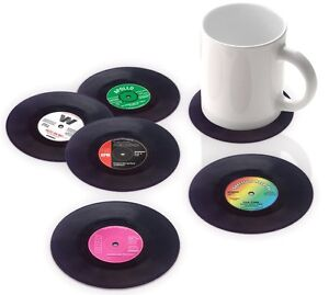 SH01328 Set of 6 Drinks Retro Vinyl coffe drinking Coasters - Novelty Gifts