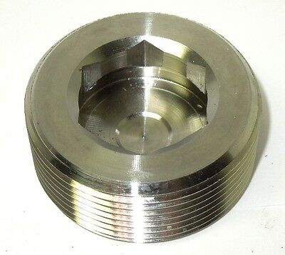 1-14 304 Stainless Steel Bar Stock Threaded Counter Sunk Hex Plug Ss1607