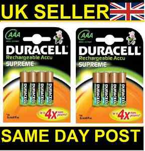 8-DURACELL-AAA-1000mAh-SUPREME-RECHARGEABLE-BATTERIES-BATTERY