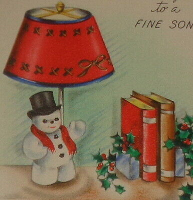 """Vintage Christmas card, quaint snowman lamp and books, 4 1/2"""" used"""