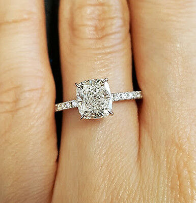 New 1.50 Ct Cushion Cut Diamond Solitaire w/ Accents Engagement Ring GIA G,SI1