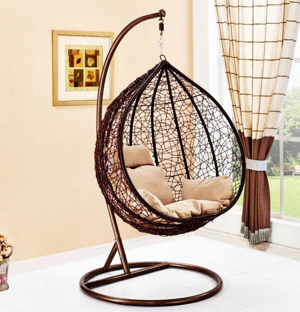Mid Century Rattan Chair, Rattan Hanging Swing Chair Stand Seat With Cushion Outdoor Garden Patio Hammock For Sale Ebay