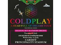 4 x Coldplay pitch standing tickets, Principality Stadium Cardiff, Tuesday 11 July 2017