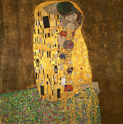 Canvas Wall Art Print Painting Pictures Repro Home Decor Kiss Klimt Brown Framed
