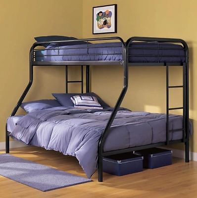 Bunk Beds Twin over Full Kids Girls Boys Bed Teens Dorm Bedroom Furniture Black