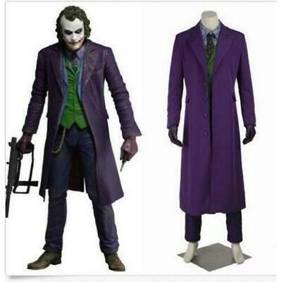 Cosplay Herren Ritter Aufstieg Joker Film Kostüm Halloween Langer Mantel Neu