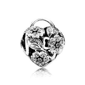 Genuine Pandora Silver Floral Heart Padlock Charm 791397