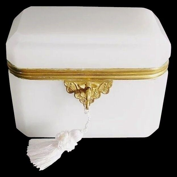 Antique French Dome Top White Opaline Casket Hinged Box with Gilt Mount
