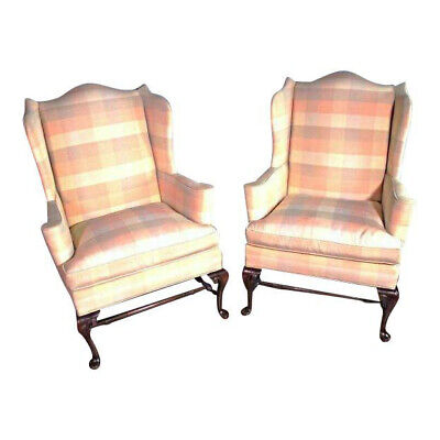 - Pair 2 HICKORY CHAIR NC Queen Anne Wing Back Armchair Settee Loveseat Sofa Bed