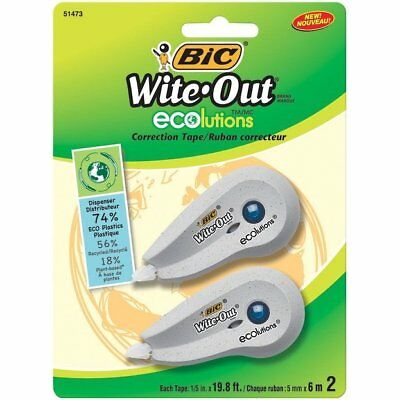 Bic White-out Ecolutions Correction Tape 15 X 237 Inches Pack Of 2