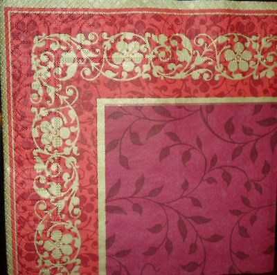 4 x Single Paper Napkins Decoupage Crafting Party Gold Frame Flowers Pattern 12