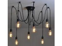 Vintage industrial style black pendant spider light, has 8 light fixtures for sale £30