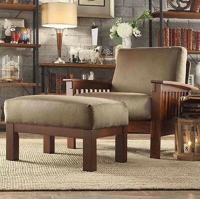 Olive Green Mission Style Oak Chair Ottoman Living Room Furniture Accent Chairs Living Room Accent Ottoman