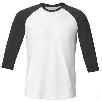 Ärmel Bio-baumwolle Shirt (3 x Baseball Shirt Bio-Baumwolle 3/4 Ärmel, Gr. S weiß-anthrazit, Stanley&Stella)