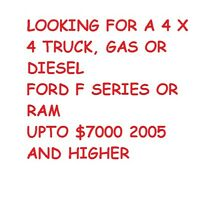 Wanted decent 4 x 4 truck