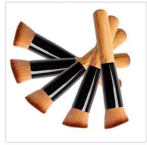 Flat-Angled-Foundation-Powder-Makeup-Wooden-Brush-Liquid-Contour-Bronzer-UK-VIII