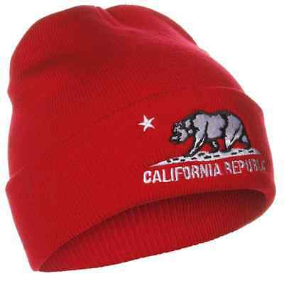 (Mens California Republic Cali Bear Cuffed Beanie Hat Skull Cap Red White New)