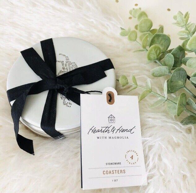4pk Stoneware Coasters Set Holiday Motifs Sour Cream-hearth & Hand With Magnolia