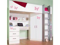 Bunk loft desk bed single