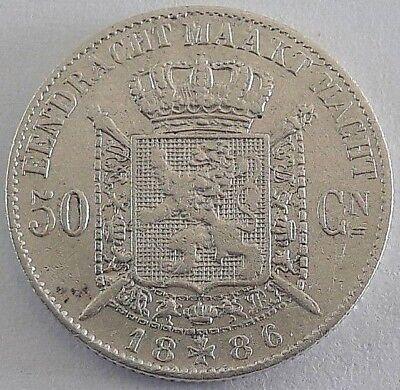 ===>>> 50 centimes 1886 50 cents  Leopold II  Belgique Belgïe NL SUP <<<===