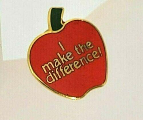 "Teacher Red Apple Enamel Pinback- I Make The Difference!- Lapel Pin- 3/4"""