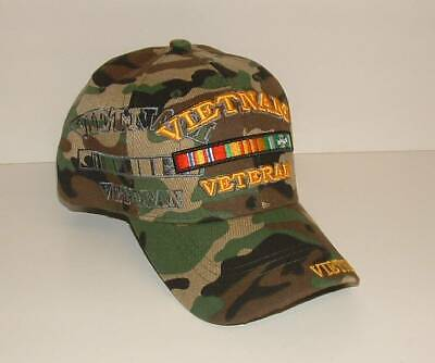 Vietnam Veteran BDU Embroidered Licensed Military Ball Cap/Hat Authentic Ribbons